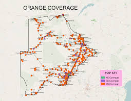 Usa Cell Phone Coverage Map by Coverage Map 2g 3g 4g Orange Botswana