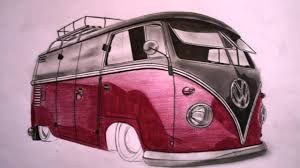 hippie van drawing vw bulli zeichnung drawing www autozeichner com youtube