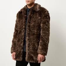 river island brown faux fur winter coat in brown for men lyst