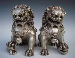 silver lion statue antique silver guardian lion foo fu dog door guard statue