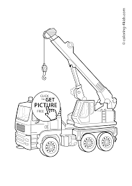 crane transportation coloring page for kids printable