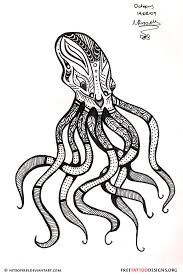 unique black outline octopus tattoo stencil by fernanda