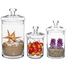 kitchen decorative canisters amazon com set of 3 clear glass kitchen bath storage canisters