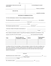 printable petition to probate will legal pleading template