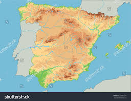 physical map of spain high detailed spain physical map stock vector 358067039