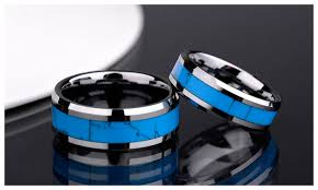 blue wedding rings turquoise inlaied tungsten wedding bands set for men and women