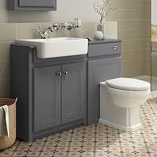 Bathroom Furniture Storage Ibathuk 1100mm Combined Vanity Unit Toilet Basin Grey Bathroom