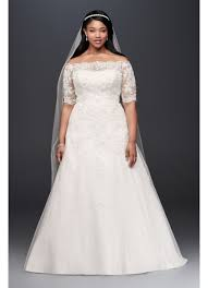 wedding dresses for larger brides 3 4 sleeve illusion plus size wedding dress david s bridal