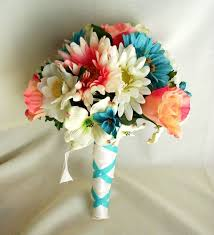 wedding flowers blue wedding flowers ideas turqoise and coral wedding flowers combined
