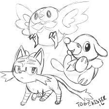 pokemon sun and moon starter sketch by togekisser on deviantart