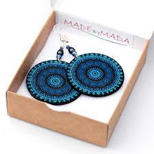 decoupage earrings denim color earrings shades of blue decoupage earrings