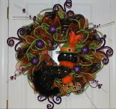 Halloween Wreath Ideas Front Door Diy Halloween Mesh Wreath