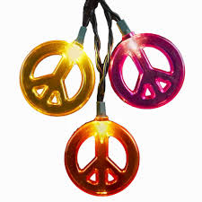 sign decor kurt adler 10 light multicolored peace sign light set