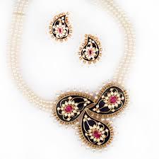 gold pearl necklace sets images Breathtaking_meenakari_paisley jpg