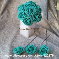 teal flowers teal flowers artificial 100pcs turquoise green roses for wedding