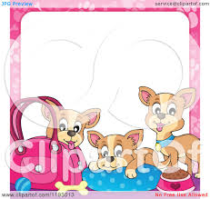 cartoon of chihuahua dogs with supplies and a pink paw print frame