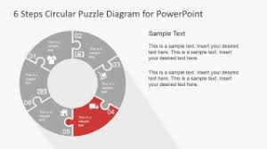 6 step circular puzzle diagram template for powerpoint slidemodel