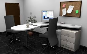 White L Desk by Office Black Swivel Chair And White L Shape Office Desk With