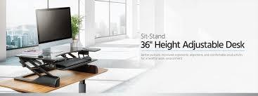 sit stand height adjustable desk 36 black monoprice com