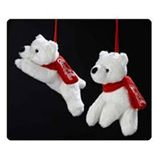 Coca Cola Christmas Ornaments - coca cola polar bears sitting lying plush ornament set kurt s