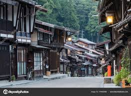 japanese town narai juku japan september 2017 picturesque view old japanese town
