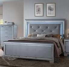 crown mark lillian king headboard and footboard bed with led
