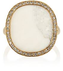 ivory ring péan white diamond fossilized walrus ivory ring