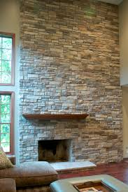 mountain stack stone veneer fireplace