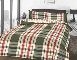 Super King Size Duvet Covers Uk Tartan Check Duvet Cover U0026 Pillowcase Set Green