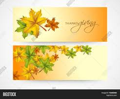 thanksgiving day celebrations website header and banner design with autumn leaves on yellow