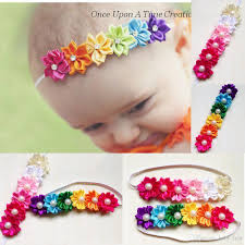 children s hair accessories baby headbands kids infant colorful fabric flowers pearl hair
