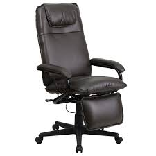 Reclining Office Chairs Ergonomic Home High Back Brown Leather Executive Reclining Swivel