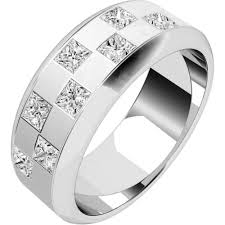 mens diamond engagement rings chequerboard design diamond set mens ring in 18ct white gold