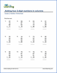 grade 2 math worksheet addition adding four 2 digit numbers in