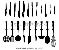 types of knives kitchen silhouettes kitchen accessories various types knives stock vector