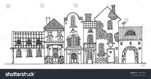 cartoon hand drawing houses stock vector 119996404 shutterstock