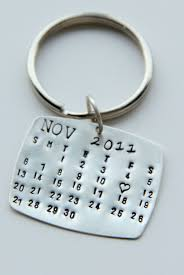wedding favor keychains sterling calendar keychain gift for him calendar key chain