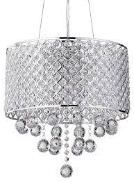 Hanging Chandelier Light Fixture Chrome Finish Round Drum Shade Crystal Pendant Chandelier Light