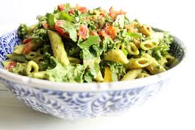 blt chickpea pasta salad creamy avocado sauce the toasted pine nut