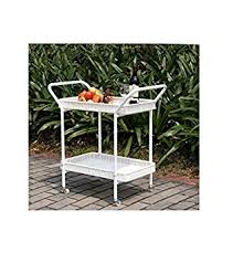 Patio Serving Table Outdoor Resin Wicker Serving Cart By Jeco Outdoor