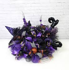 black feather wreath halloween purple witch centerpiece halloween centerpiece witch leg