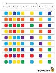 free printable color pattern worksheet for kindergarten tiny whiz