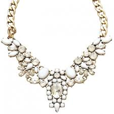 white crystal necklace images White crystal flower bib statement necklace choker jpg