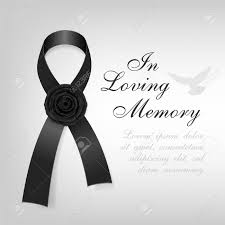 funeral ribbon funeral card black awareness ribbon with black flower on