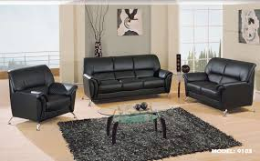 Simple And Neat Decorating Ideas Using Rectangular Brown Rugs And - Living room decor with black leather sofa
