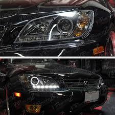 lexus is200 jdm headlights jdm spec 2001 2005 lexus is200 is300 2jz black led halo projector