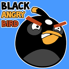 draw black angry bird easy step step drawing