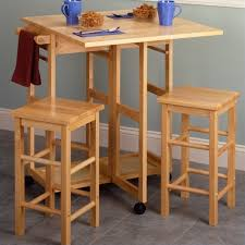 table with 2 stools drop leaf table kitchen cart with 2 stools in natural finish 89330