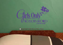 girls only no boys allowed wall decal stickers with flower art graphic loading zoom