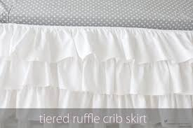 White Ruffle Crib Bedding Tiered Ruffle Crib Skirt A Pottery Barn Knockoff By Ilene